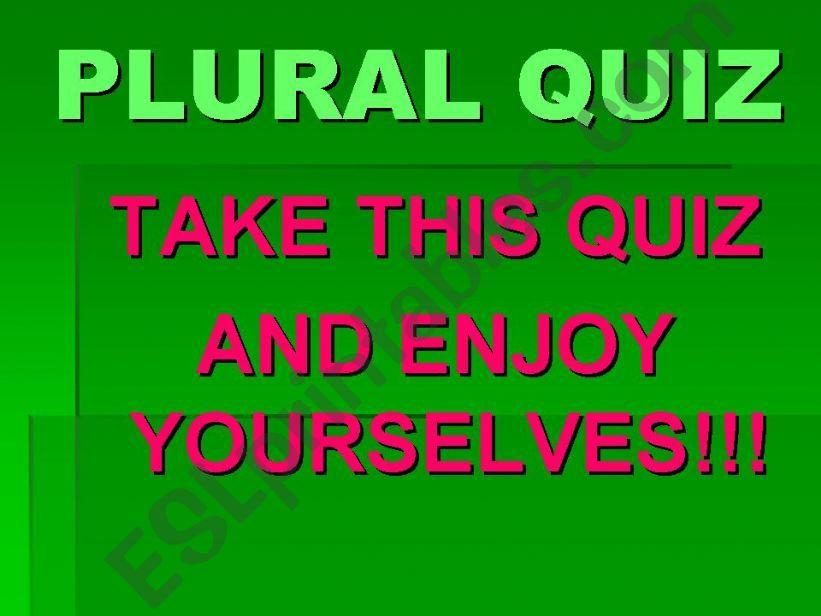 Plural Quiz powerpoint