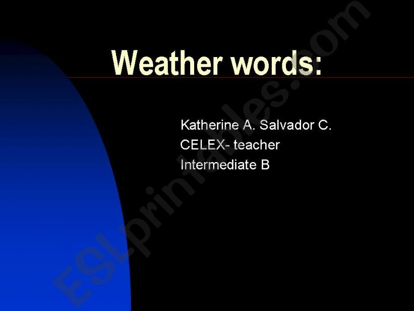 TEACHING WEATHER WORDS powerpoint