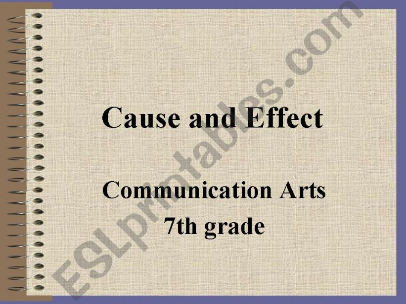 Cause and Effect Power Point powerpoint