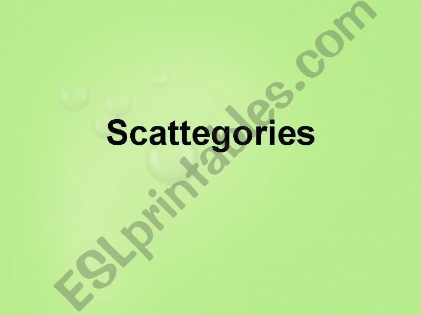 Scattegories Game - Super Fun powerpoint