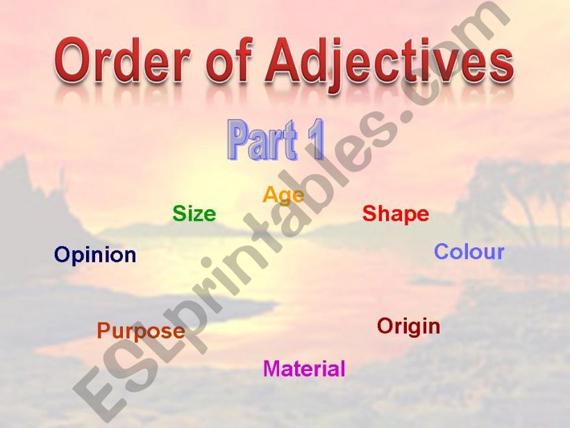 Order of Adjectives - Part 1 powerpoint