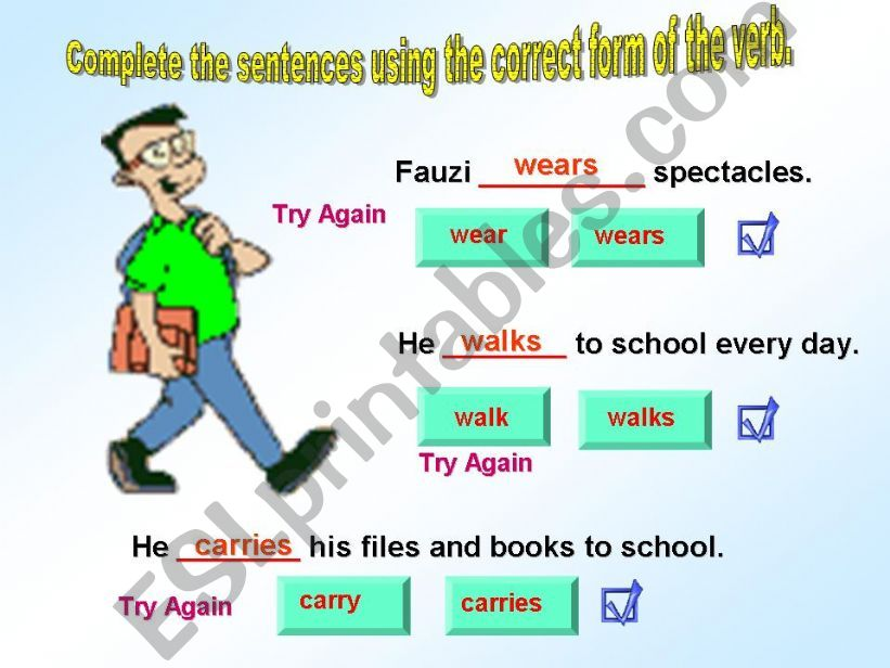 Subject Verb Agreement - Interactive