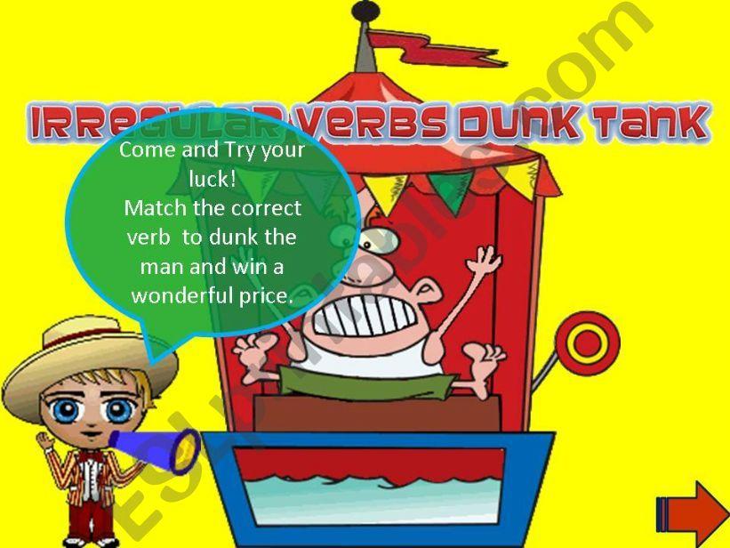 Irregular verbs dunk tank powerpoint