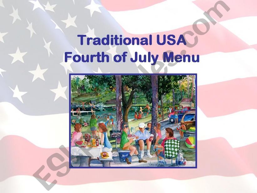 USA Fourth of July Menu powerpoint