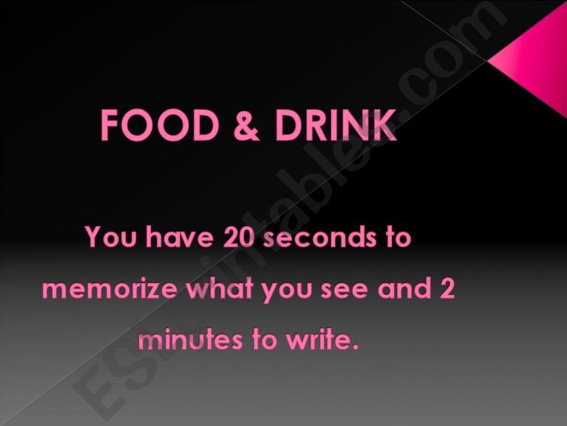 Food & Drink: Memory Game powerpoint
