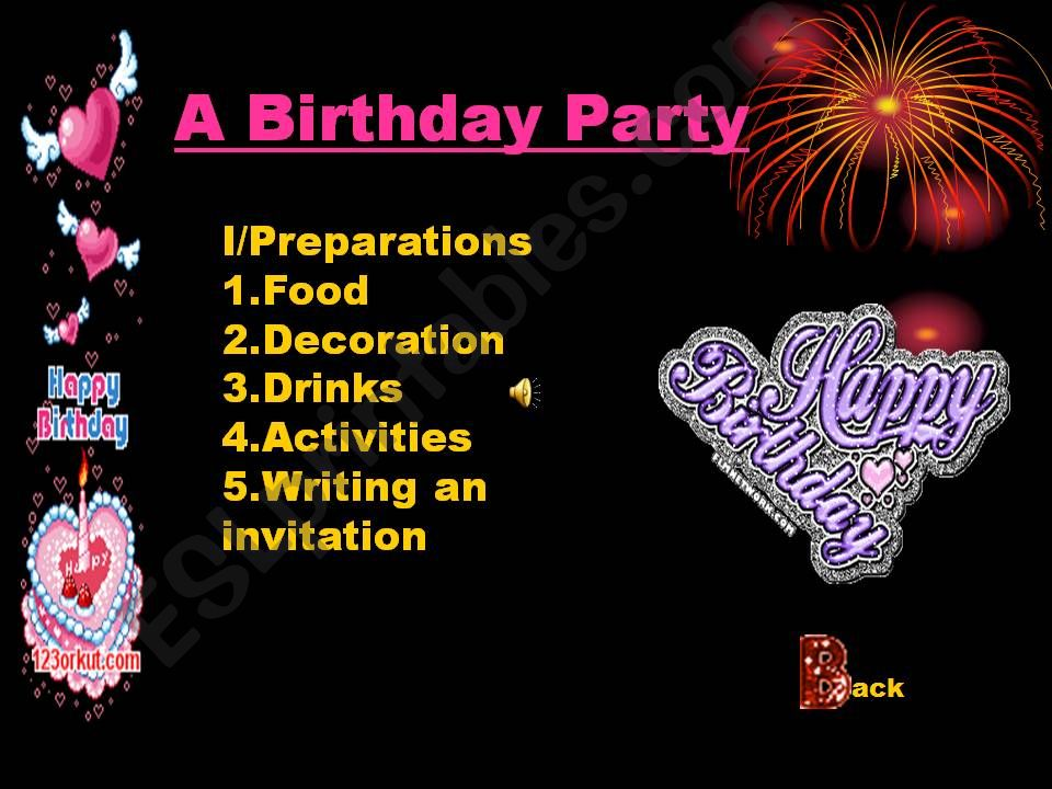 Preparation for a Birthday party(with animation and the birthday song)