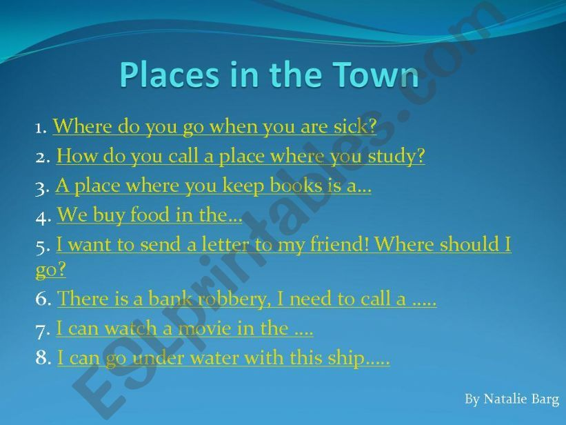 Places in the Town powerpoint