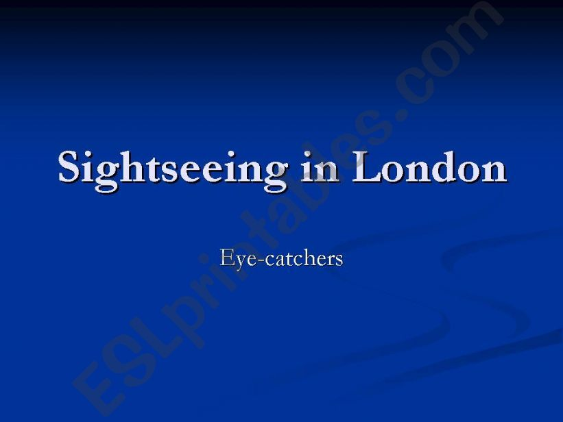 Sightseeing in London powerpoint
