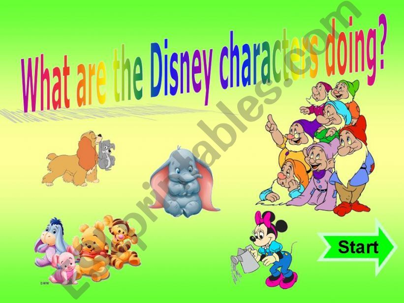 What are the Disney Characters doing? Present Continuous + SOUND