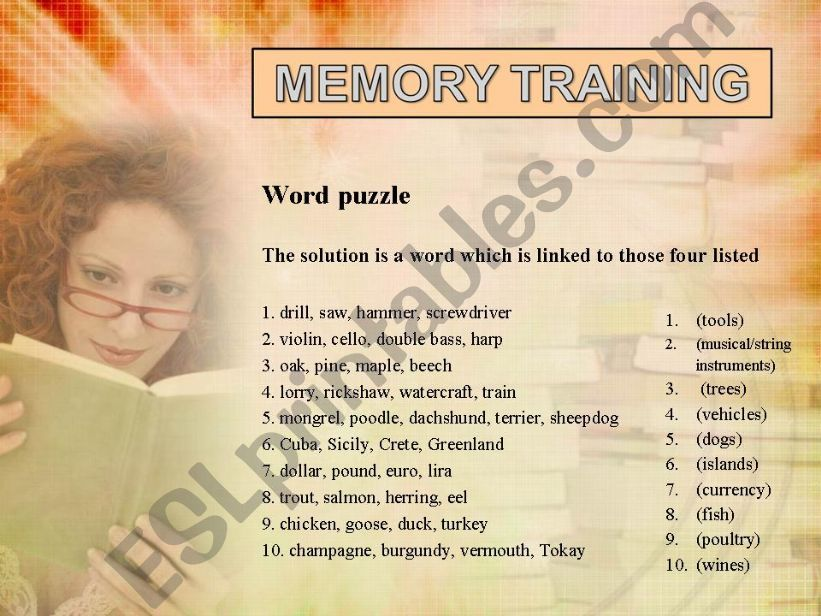 MEMORY TRAINING  (fully editable, answer key included)