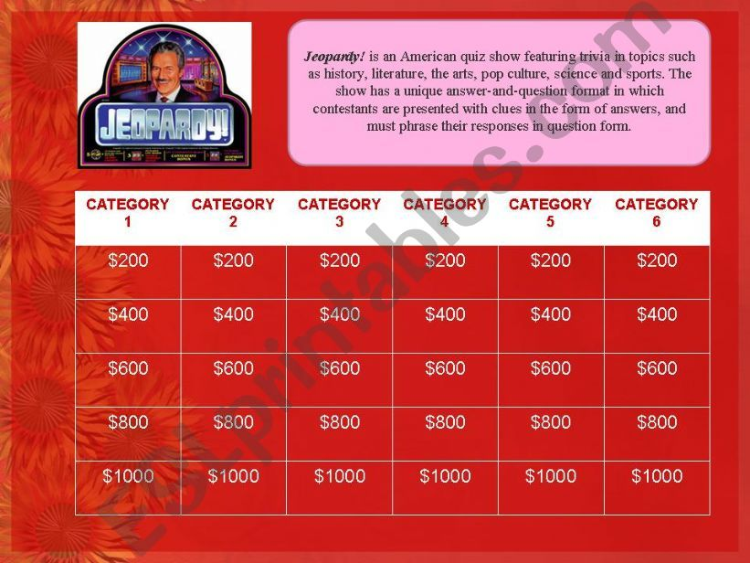 JEOPARDY! GAME TEMPLATE powerpoint