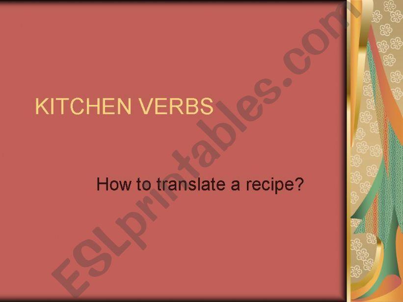 kitchen verbs powerpoint