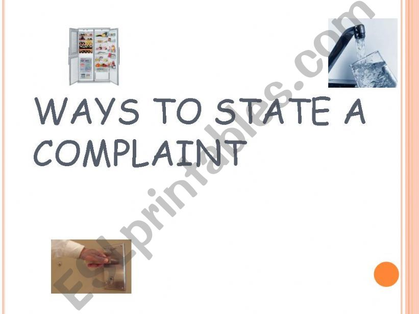 ways to state a complaint  powerpoint