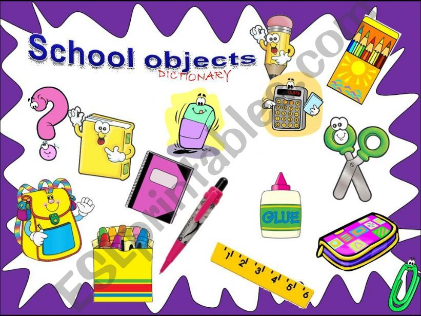 School objects -  Dictionary  /with sounds/