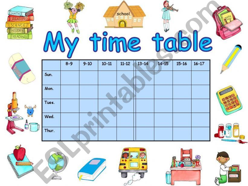 My time table powerpoint