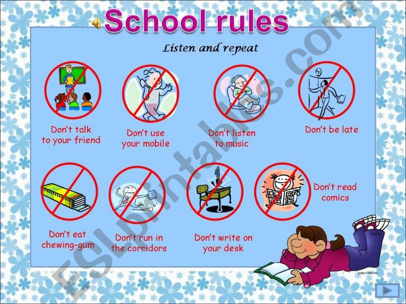 ESL - English PowerPoints: School rules (ppt with sounds and