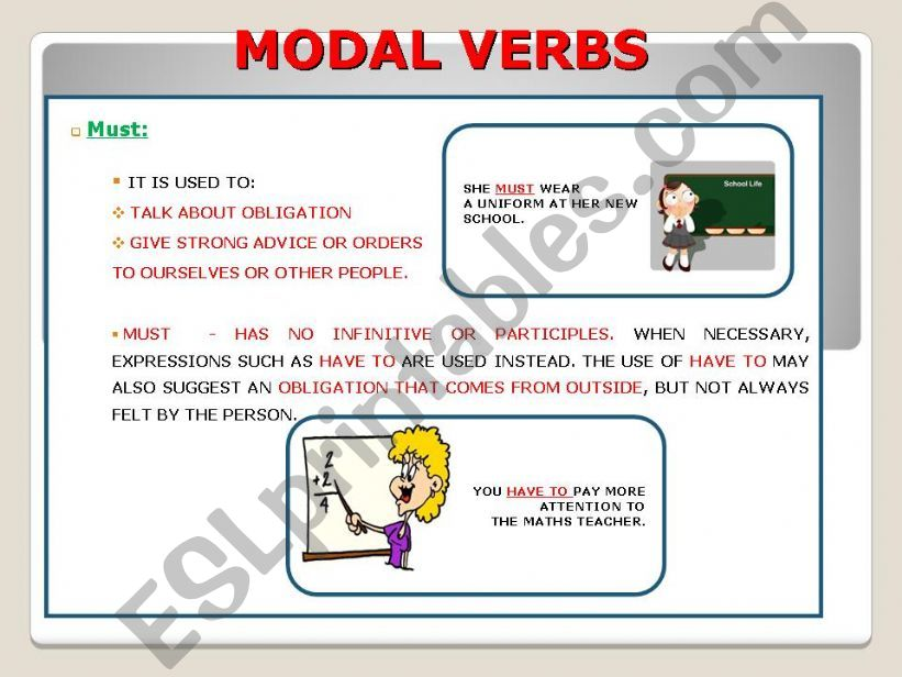 MODAL (MUST) + RULES AND EXAMPLES PART II