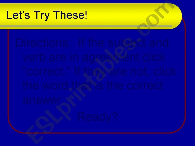 Esl English Powerpoints Subject Verb Agreement 2