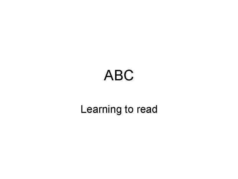 ABC - Put letters together to start reading simple words
