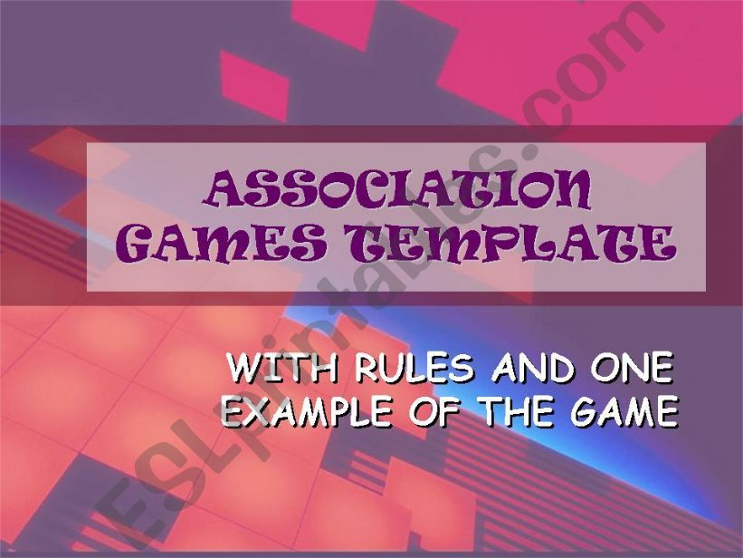ASSOCIATION GAMES TEMPLATE - free and you can actually play it!