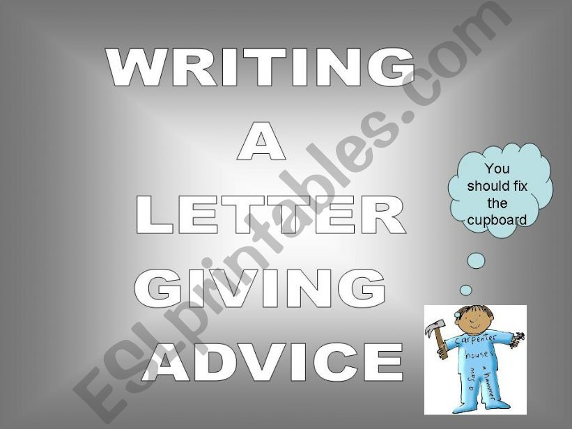 A LETTER GIVING ADVICE powerpoint