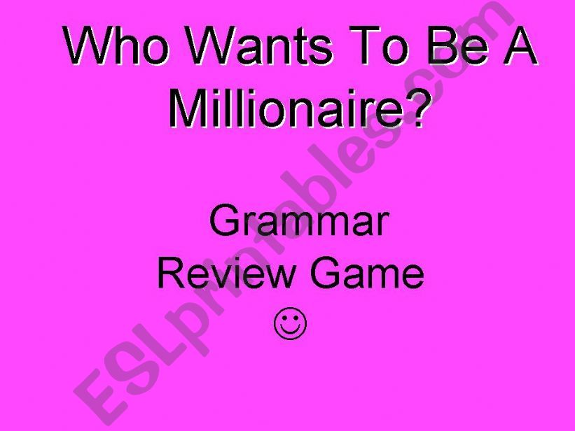 Who Wants to Be a Millionaire Grammar Review Game