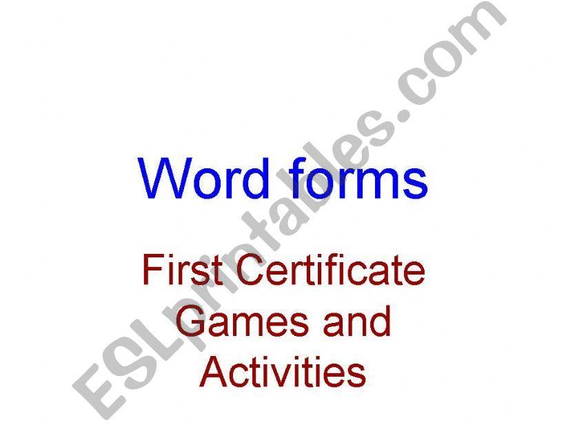 WORDFORMATION powerpoint
