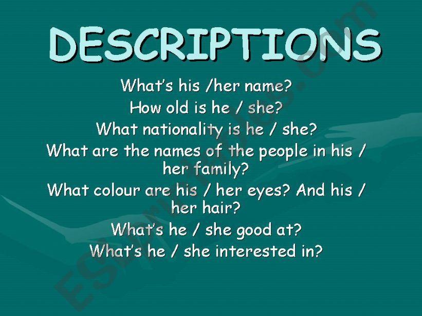 How to write descriptions (part 1)