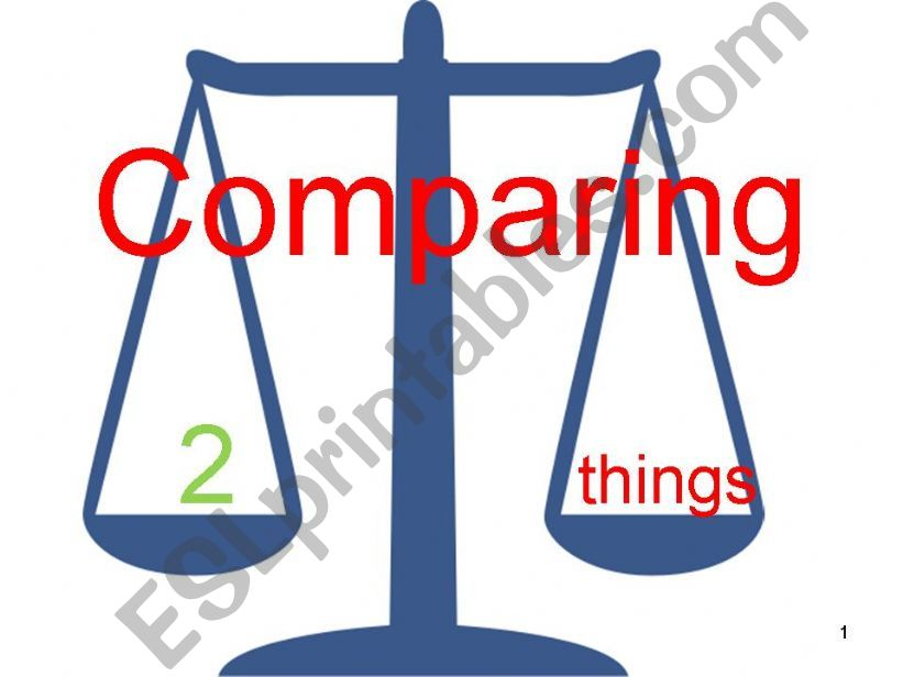 Comparing 2 things: Comparatives Part One