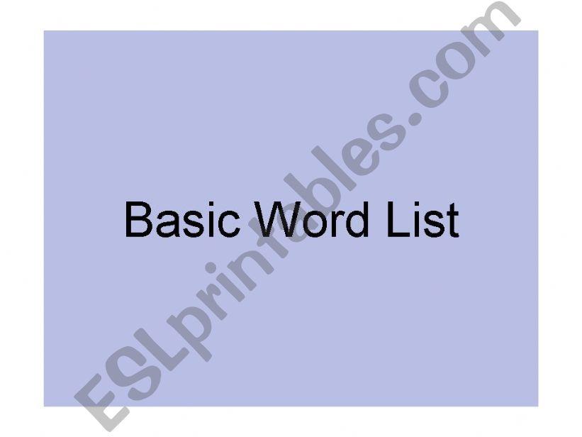 Basic Word List 1 powerpoint