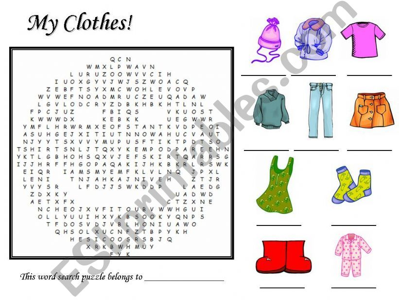 My Clothes Word Search Puzzle powerpoint
