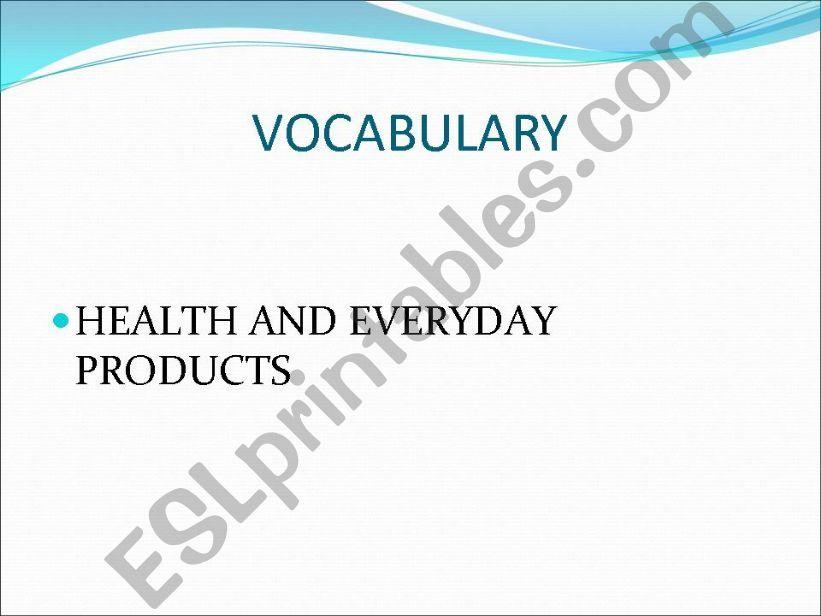 Health vocabulary powerpoint