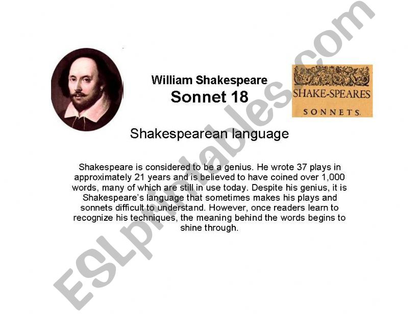 Sonnet 18 by Shakespeare powerpoint