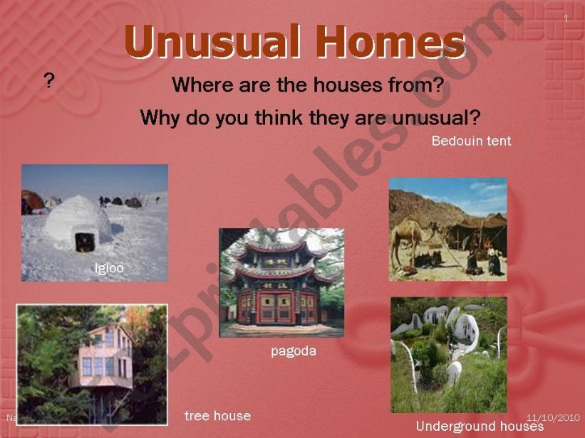 Unusual Homes part 1/2 powerpoint