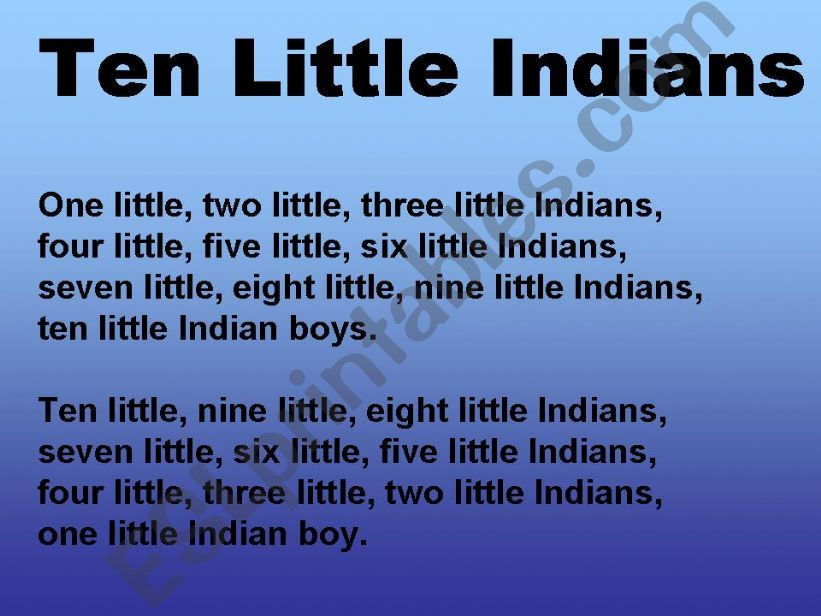 Karaoke Ten Little Indians - Video with Lyrics - Nursery Rhyme