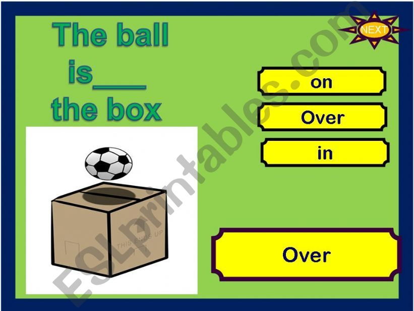 game prepositions where is the ball