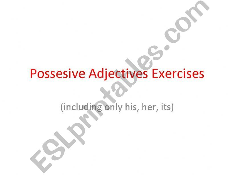 possesive adjectives exercises (only his, her, its)