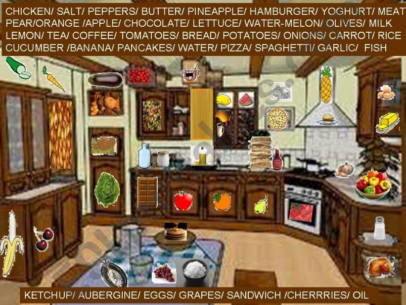 40 hidden items of food in the kitchen.(2/2)