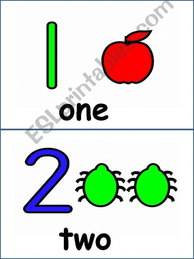 Number flash cards powerpoint
