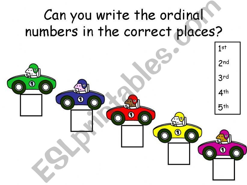 Writing ordinal numbers powerpoint