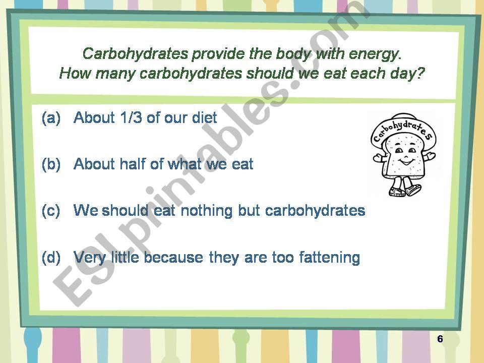 ESL - English PowerPoints: healthy eating quiz