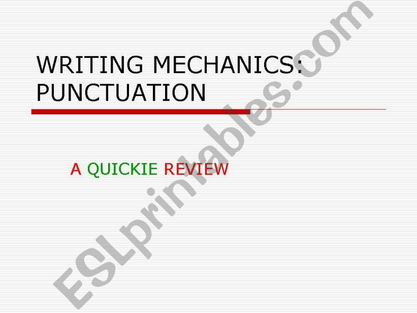 Punctuation Review PowerPoint powerpoint