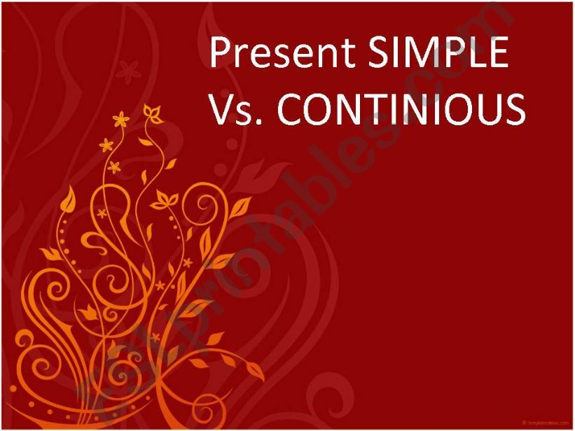 Present simple Vs, Continious powerpoint
