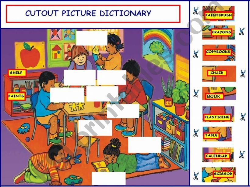 Cutout Picture Dictionary - Part 1: School objects & Numbers from 1 - 9