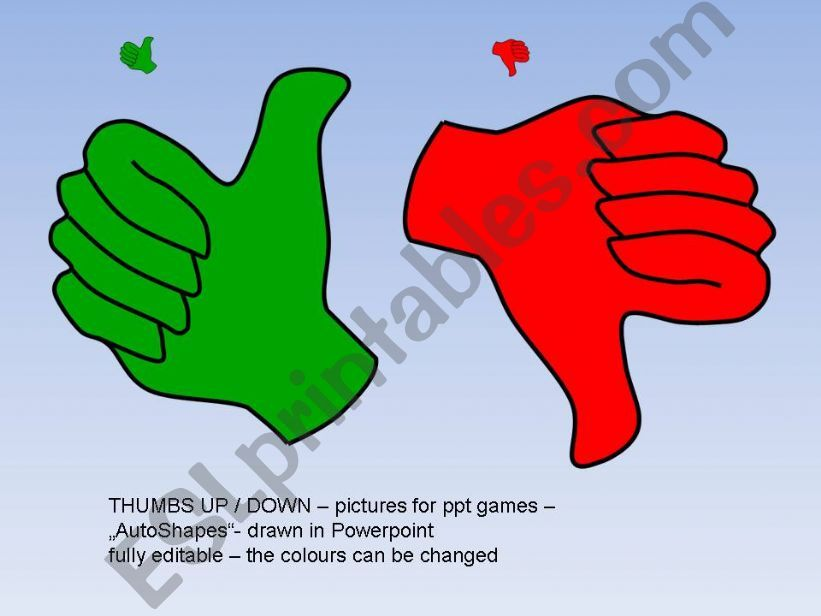 Thumbs up :-) Editable pictures for ppt games