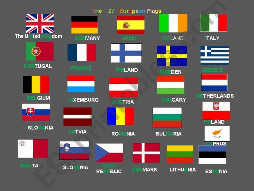 The 27 Eupean Flags and countries