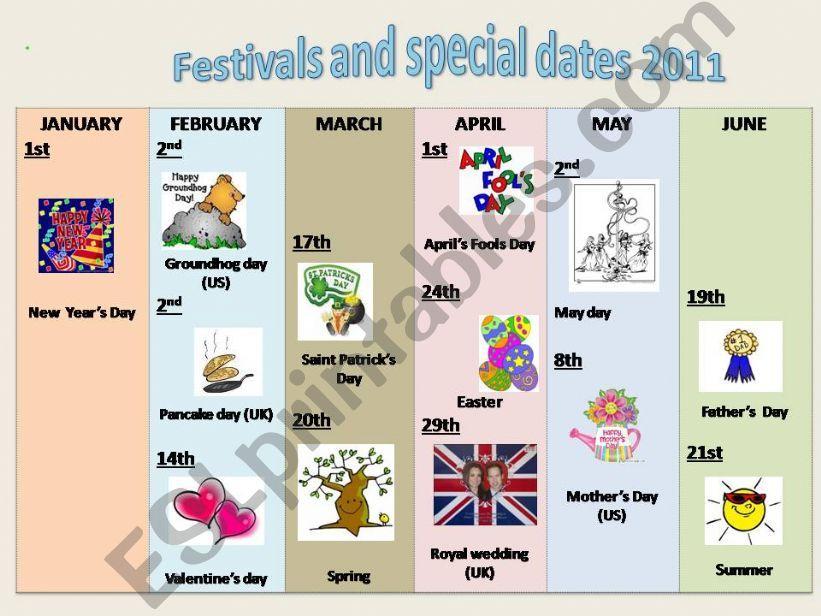 Festivals and special dates 2011 (calendar)
