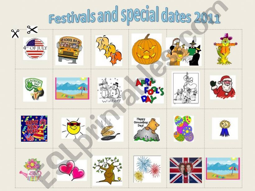 Festivals and special dates 2011 - exercise