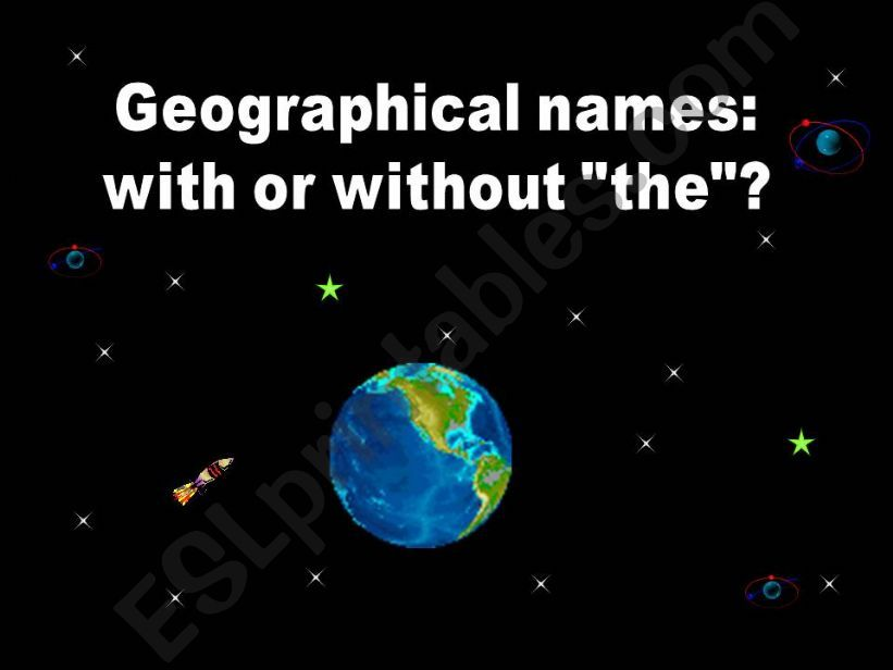 Geographical names: with or without THE
