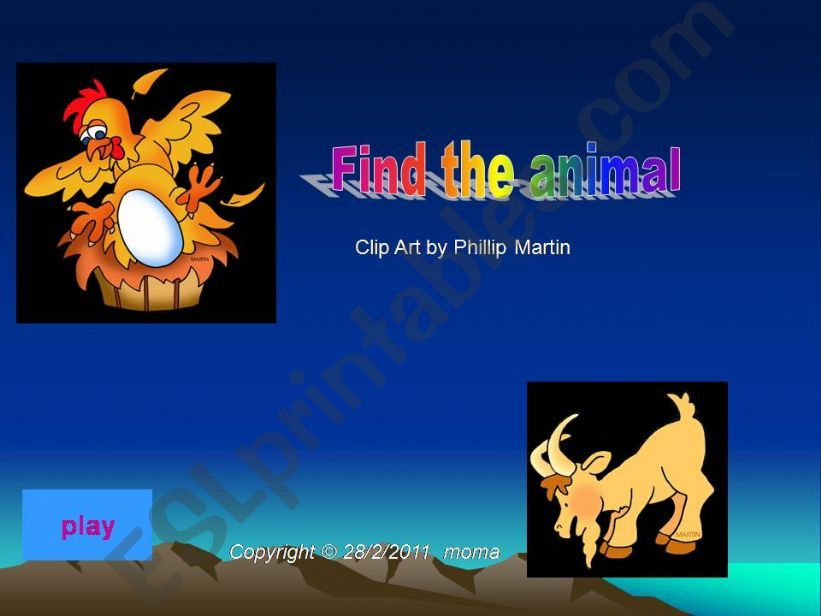 Find the Animal Game  powerpoint